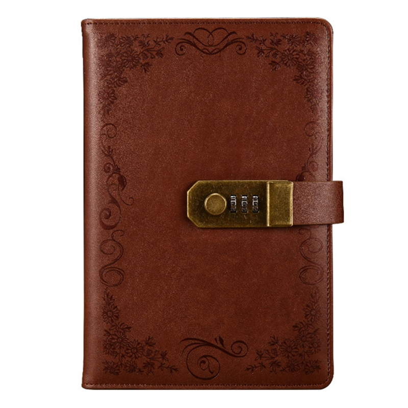 Brown Diary With Lock Notebook A5 Vintage Lockable Paper PU Leather Note Book Traveler Journal Weekly Planner School Stationery