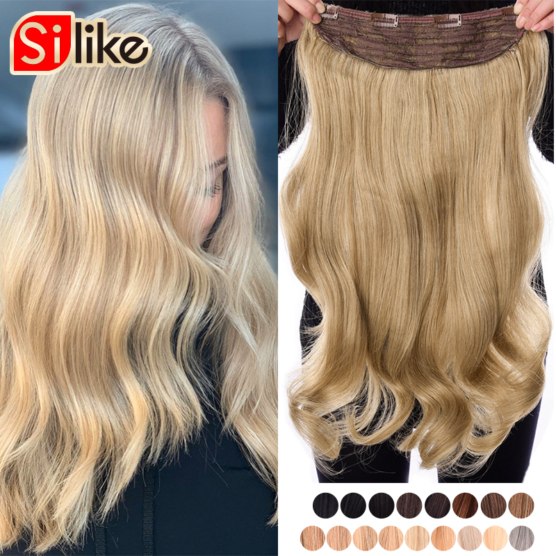 Silike 24 Inch Wavy Clip In Hair Extension Synthetic Clip Extension Heat Resistant Fiber 4 Clips One Piece 17 Colors Available