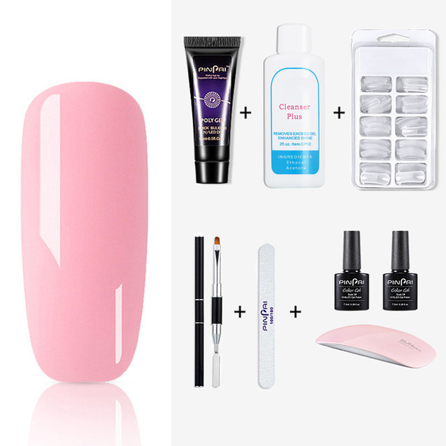Poly Uv Gel Nail Builder Builder Extension Kit LED Lamp Nail Gel Polish Set 15ml Extend Builder Polygel Nail Kit Poly Gel Set 5