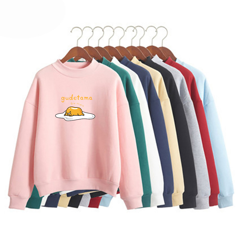 Gudetama gedruckt Sweatshirt Kawaii Cartoon Sweatshirt Frauen Winter neue Fleece lässig Harajuku verlieren große Straße Pullover Shir