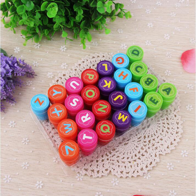 1 Set 26pcs Children Toy Stamps Cartoon Alphabet Series Kids Seal For Scrapbooking Stamper DIY Cartoon Party Stamper Toys in Color Shape from Toys Hobbies