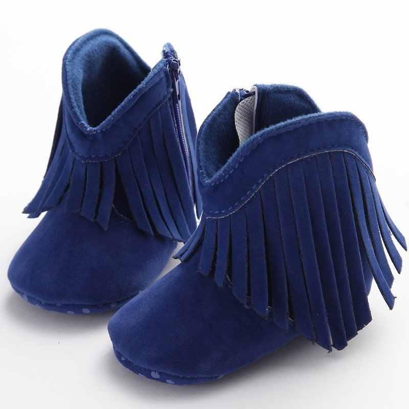 0-12M mokasen bebek çocuk kız katı Fringe çizmeler ayakkabı bebek yumuşak tabanlı kaymaz patik
