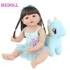 55cm Full Silicone Reborn Baby Doll Toy Lifelike Vinyl Princess Unicorn Babies Girl Bathe Toy Kids Birthday Gift Dress Up Doll(China)