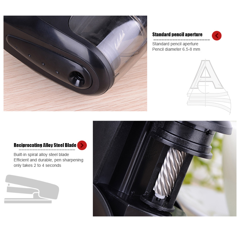 Electric Pencil Sharpener Auto Safety Helical Blades Tool For Artist Student Office Home PR Sale