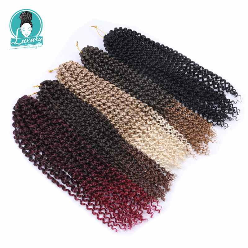 Luxury for Braiding 18 inch 24 strands/pack Pre Looped Crochet Braids Synthetic Ombre Passion Twist Braiding Hair image