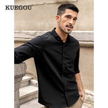Shirts Stand-Up-Collar KUEGOU Clothing Long-Sleeve Men Plus-Size Fashion White Autumn