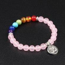 Bracelet de Lotus avec pierre naturelle, perles de calcédoine, bijoux à breloques pour femmes, Chakra, Yoga, bijou bouddhiste, brin