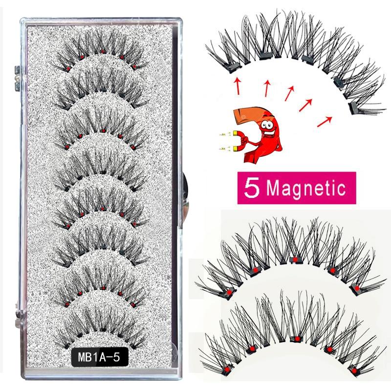 New MBA 5 Magnetic Eyelashes Curler Set Long 3D Mink Magnetic lashes Wear faux cils magnetique Natural Thick False Eyelashes 3