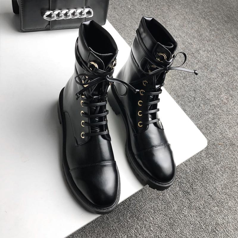 Botas Mujer gothique noir bottines pour femme à lacets Combat militaire bottes femme bas talon épais moto Bot Punk chaussures - 5