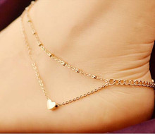 BK 2016 New Fashion Foot Jewelry Gold Plate Double Chain Heart Beach Anklets Bracelets For Women