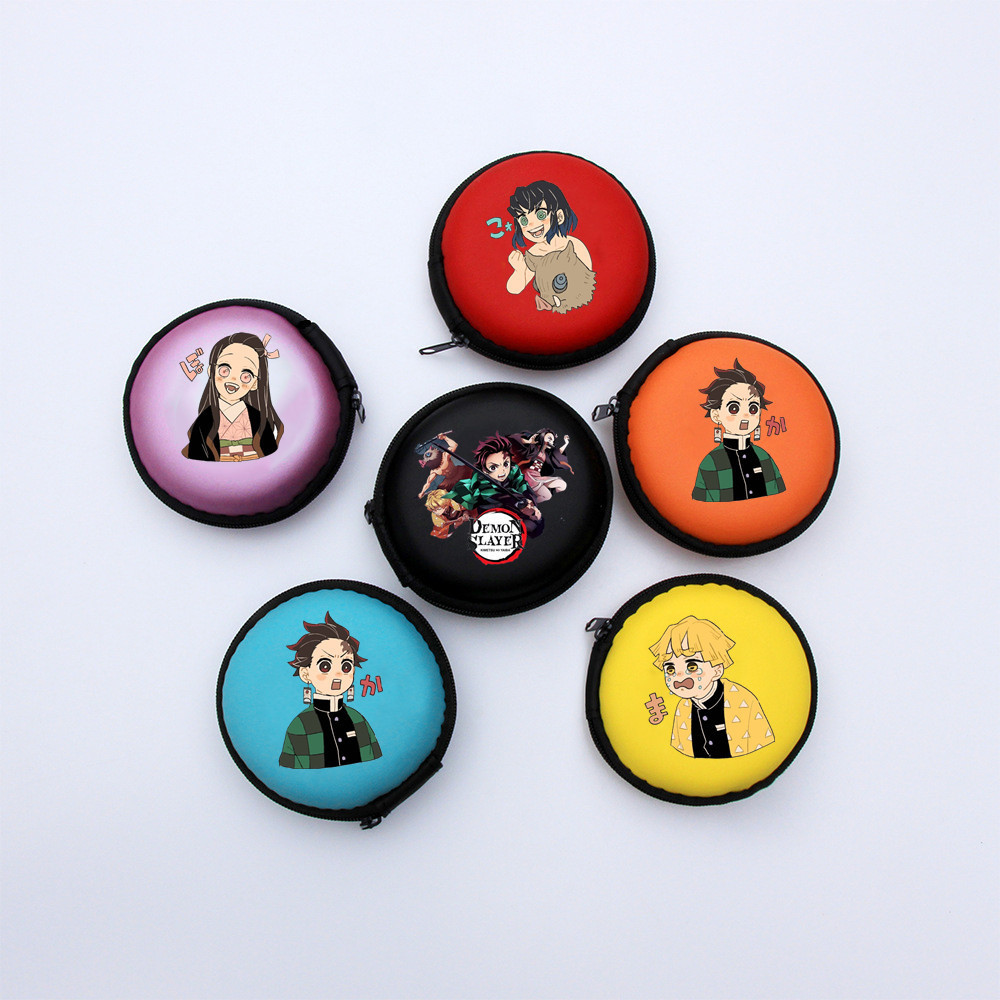 Demon slayer Container Coin Headphone Storage Box Colorful Headphone Case Travel Storage Bag For Earphone Data Cable Charger