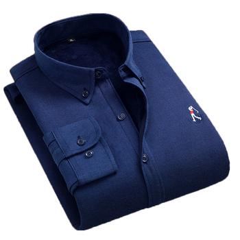 Aoliwen mężczyźni zimowy wypoczynek 60 bawełna zagęszczony granatowy jednokolorowy ciepły koszula przeciw zmarszczkom wygodne pluszowe koszula slim fit z długim rękawem tanie i dobre opinie CN (pochodzenie) KOSZULE CODZIENNE Pełne COTTON Włókno poliestrowe Flanelowy Stałe Jednorzędowe Wykładany kołnierzyk