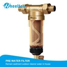 Предварительный фильтр для воды Wheelton (WWP-02S) с двумя дворниками, евро-стандарт, латунь, 30 лет, очиститель Lifitime, весь дом 1/2