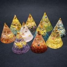 Orgonit piramidi orgon manevi şifa enerji dönüştürücü Metatron jeneratör doğal kristal kuvars takı Reiki çakra taşları
