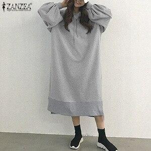 2020 Elegant Women's Dress ZANZEA Midi Hoodies Vestido De Mujer Casual Side Fork Robe Oversized Autumn Long Sleeve Streetwear