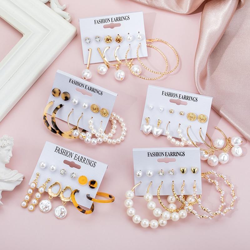 New Korean Acrylic Pearl Drop Earrings For Women Bohemian Big Circle Geometric Earrings Set 2020 Brincos Female Fashion Jewelry
