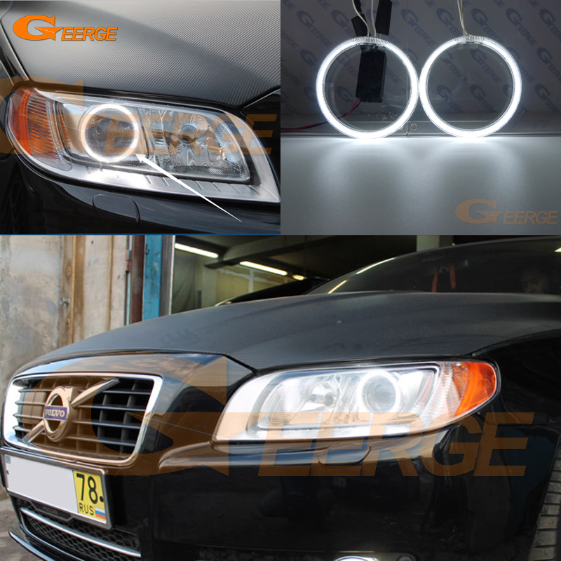 Excellent CCFL Angel Eyes Kit Halo Rings For Volvo V70 III 2007 2008 2009 2010 2011 2012 2013 2014 2015 2016 Xenon Headlight