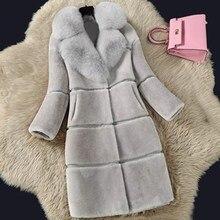 الأغنام القص فو الفراء معطف المرأة 2019 الخريف الشتاء جديد سترة جلدية الفراء في طويل الثعلب الفراء طوق معطف الفرو الإناث 5XL