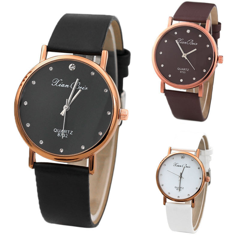 Fashion Women's Diamond Simple Watch Case Leather Band Round Dial Quartz Wrist Watch Small Diamond Relogio Feminino