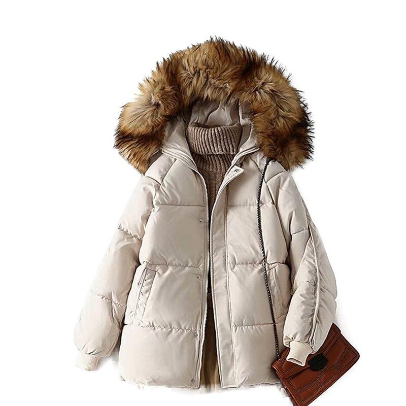 2020 Высококачественная утепленная парка с капюшоном женская тонкая верхняя одежда с большим меховым воротником осенне зимняя куртка женская кремовая Куртка парка|Парки| | АлиЭкспресс