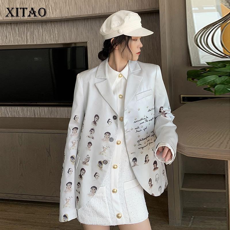 XITAO Print Pattern Blazer Fashion New Women 2020 Spring Full Sleeve Goddess Fan Korea Fashion Pocket Blazer Coat GCC3320
