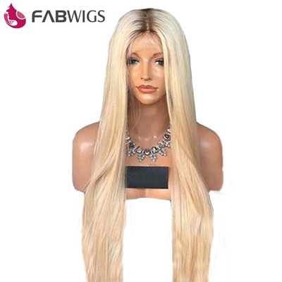 Fabwigs 180% Density # 4/613 Ombre Blonde Full Lace Human Hair Wigs Brazilian Straight Transparent Lace Wigs With Baby Hair Remy