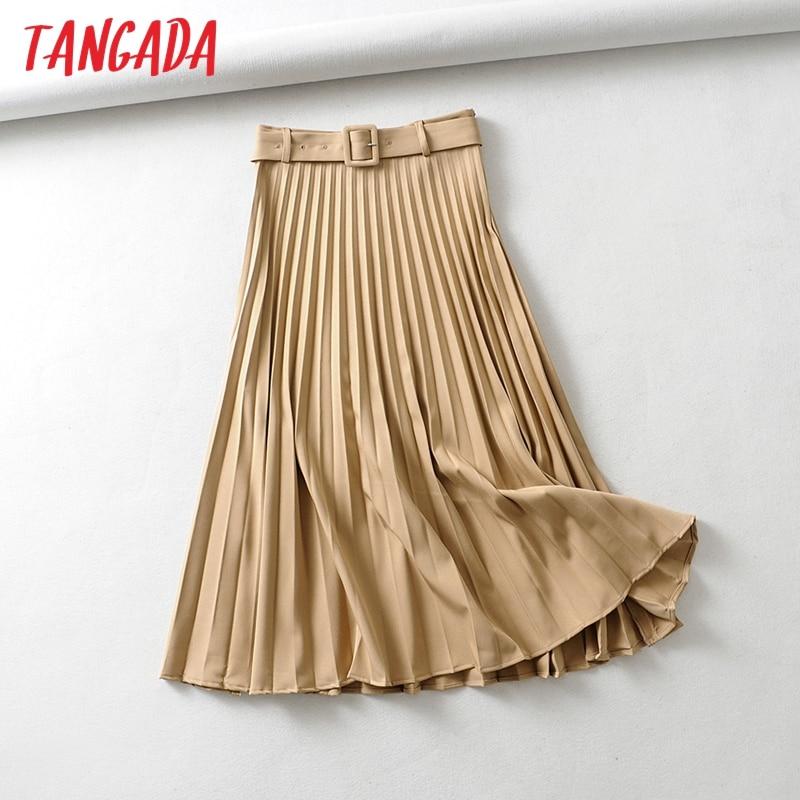 Tangada Women Khaki Pleated Midi Skirt Vintage With Belt Solid Female Office Ladies Work Wear Chic Mid Calf Skirts 6A306