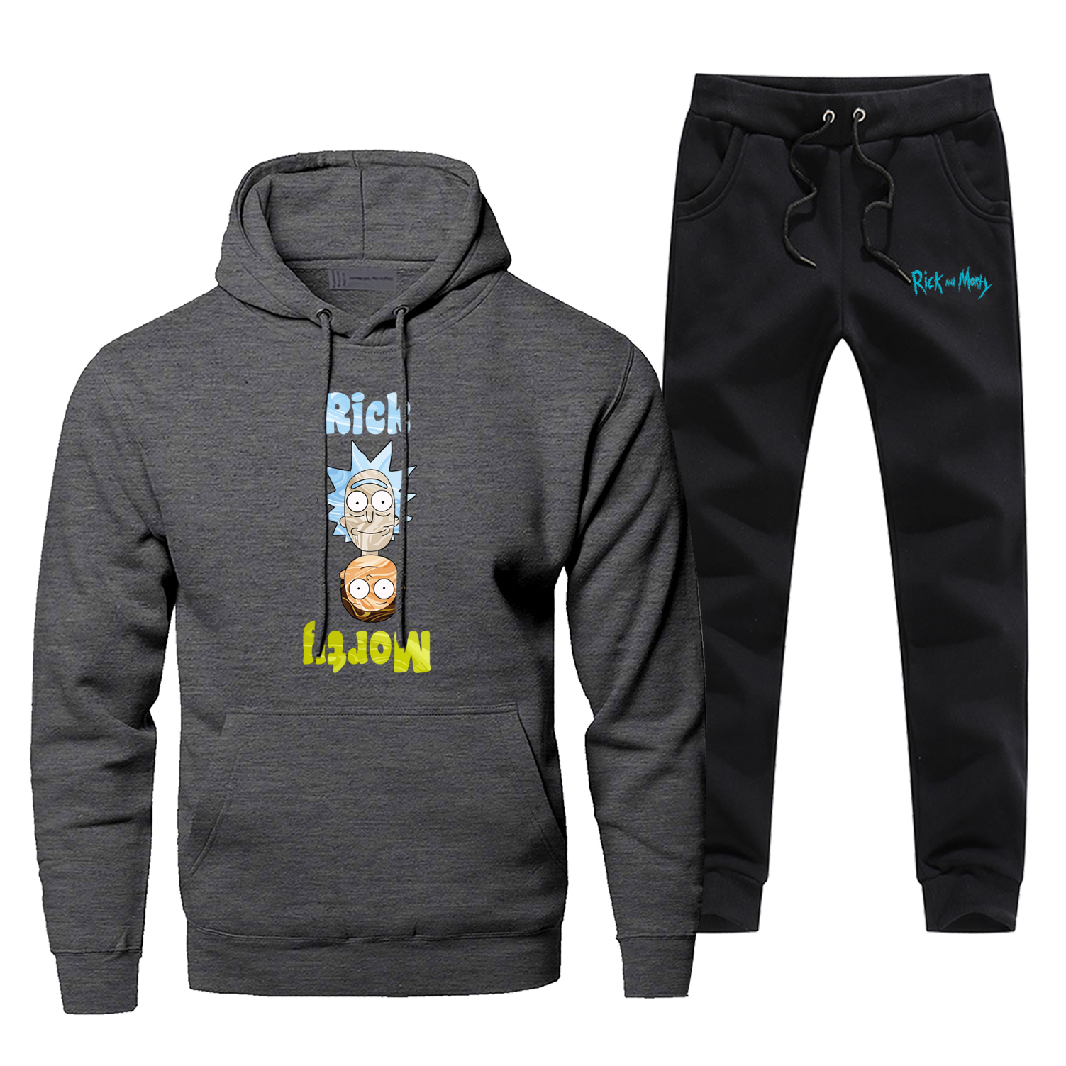 Men Hoodie Rick And Morty Male Pants Set Sweatshirt Mens Hoodies Sweatshirts Sets Two Piece Pant Pullover Funny Cortoon Coat