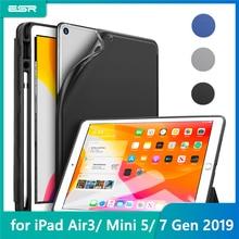 Esr Case Voor Ipad Air 3 Mini 5 7 2019 Folio Rubber Olie Cover Ultra Slim Smart Potlood Slot Zachte tpu Case Voor Ipad 7 7th 10.2 2019