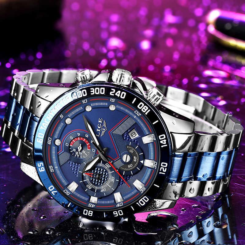 LIGE hommes montre haut marque grand cadran Sport montres hommes de luxe Quartz montre-bracelet chronographe mâle bleu montres Relogio Masculino