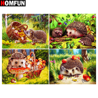 "HOMFUN Diamond Embroidery ""Hedgehog fruit forest"" Pattern DIY 5D Diamond Painting Needlework Cross Stitch Full Drill Painting"