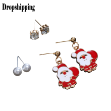 Women Lovely Deer Santa Claus Bell Christmas Christmas Earrings Cute Decorative Earrings Christmas Fashion party Jewelry #ZD(China)