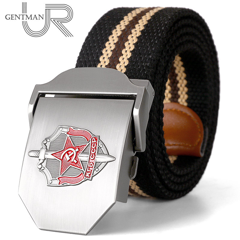 New Men & Women High Quality Belt 3D Soviet Glory KGB Canvas Military Belt Shield And Sword CCCP Luxury Jeans Tactical Belt