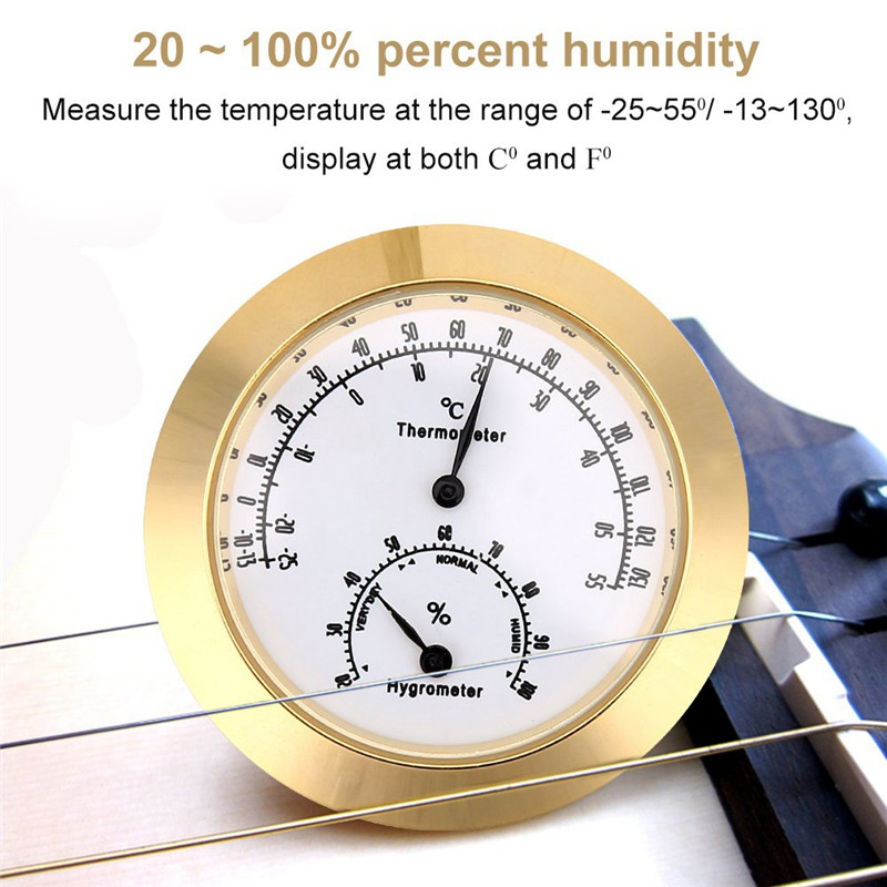 New Round Thermometer Hygrometer Humidity Temperature Meter For Violin Guitar Case Instrument Care Monitoring Meter Tool