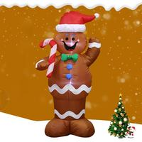 1.5m Inflatable Gingerbread Man Prop for Christmas Party Yard Funny Happy New Year Kids Toys Halloween Decor