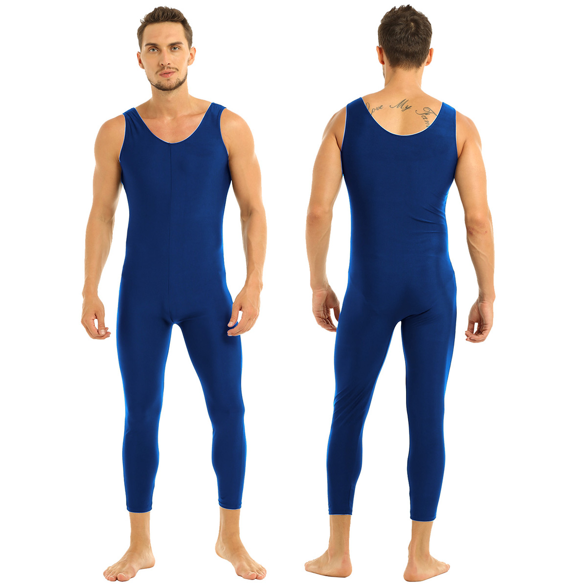 Men Sleeveless Leotard Bodysuit Lycra Tights Leggings for Ballet Dance Vest Teddy Sports Unitard Catsuit Male Dancewear Jumpsuit 22
