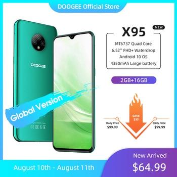"""Nouveau DOOGEE X95 Android 10 4G-LTE téléphones portables 6.52 """"affichage MTK6737 16GB ROM double SIM 13MP Triple caméra 4350mAh batterie 1"""