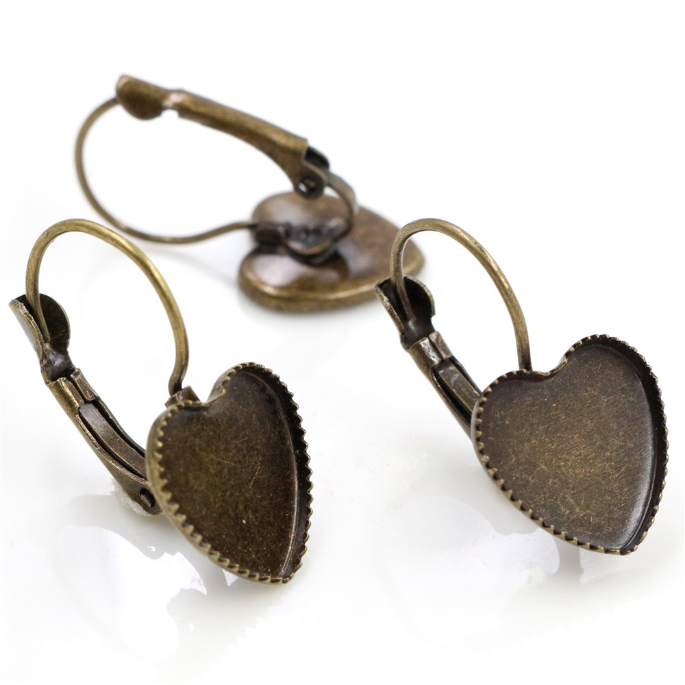 12mm 10pcs Antique Bronze Plated Heart French Lever Back Earrings Blank/Base,Fit 12mm Glass Cabochons;Earring Bezels (L3-23)