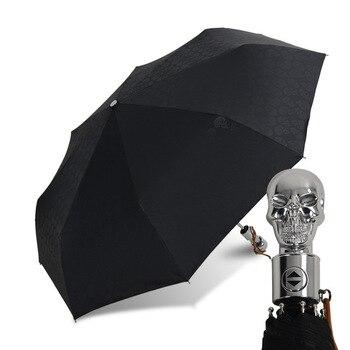 Creative Parasol Crown Skull Headle Umbrella Rain Women Automatic Folding Umbrella Windproof Men Business Black Coating Gift