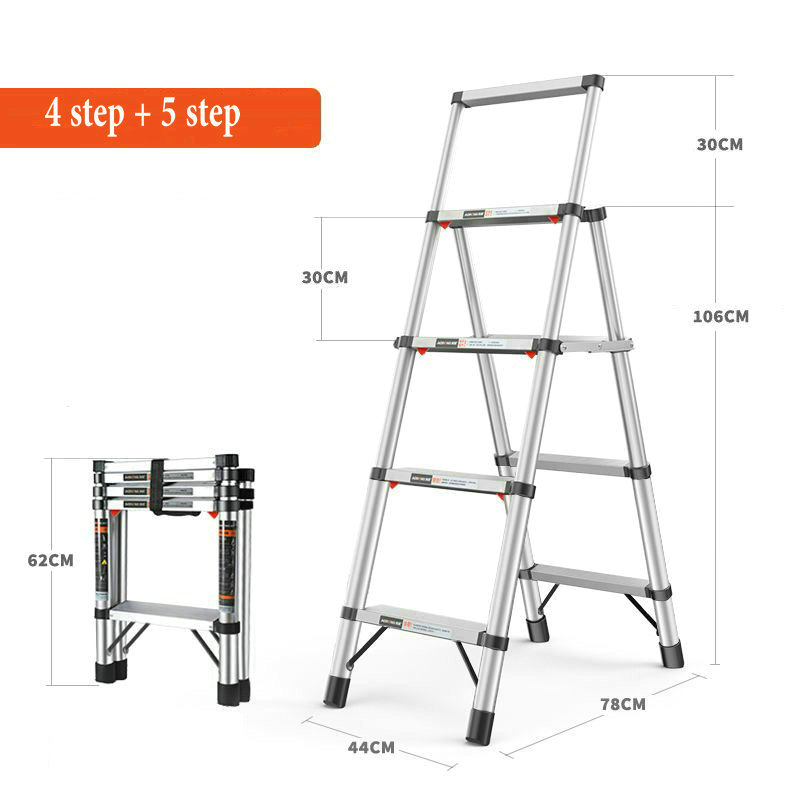 4 step + 5 step Aluminum alloy multi-function telescopic ladder household folding herringbone ladder elevator engineering ladder