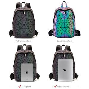 Image 4 - Luminous Backpacks Women Geometric Laptop Backpack For Men Shoulder Backpack School Holographic Rucksack Female Trave School Bag