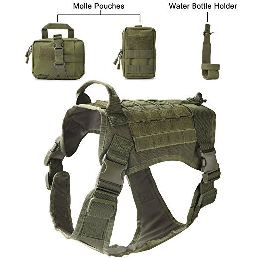 Military Tactical Dog Modular Harness with No Pull Front Clip law enforcement K9 Working Cannie Molle Hunting Vest