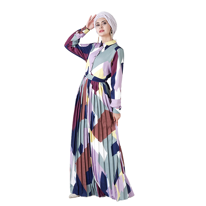 Geometric Abaya Muslim Dress Kaftan Dubai Abayas For Women Caftan Hijab Turkish Dresses Prayer Islamic Clothing Tesettur Elbise