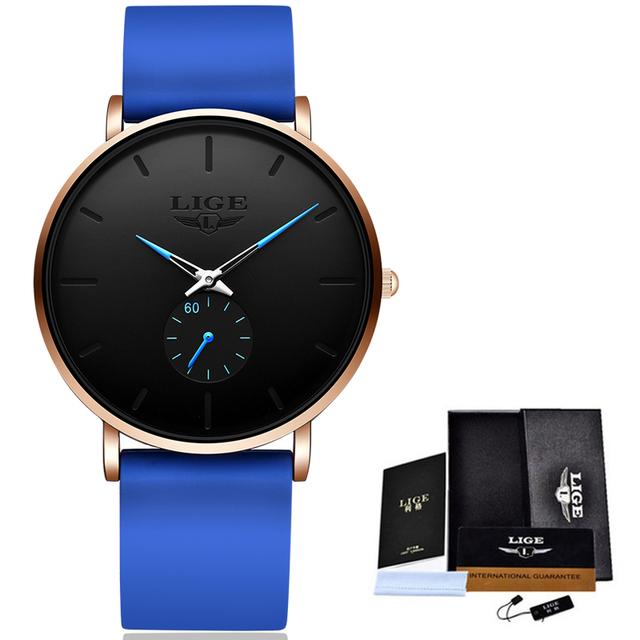 Relogio Masculino LIGE New Fashion Men Watches Analog Quartz Wristwatches 30M Waterproof Sport Leather Band Watches montre homme