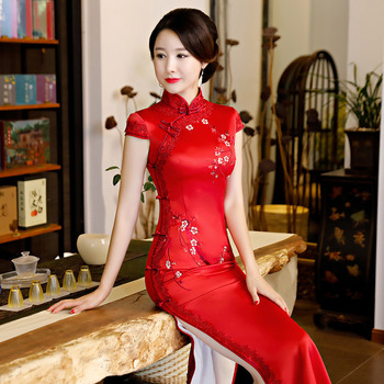SHENG COCO Lace Embroidery Silk Evening Dress Chinese Red Long Qipao Female Cheongsam Dress China Wedding Dresses Plus Size 4XL