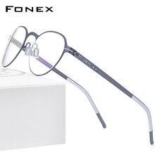 Glasses-Frame Screwless Eyewear FONEX Optical-Myopia Women New Round Alloy Korean 994