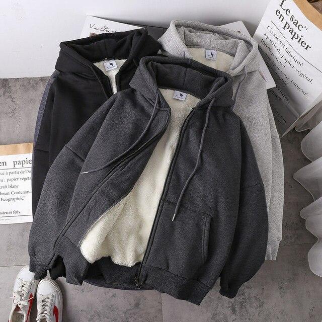 Jacket women solid color hoodies 2020 autumn winter imitation lamb wool korean loose plus velvet thick zipper sweatshirt tops 2