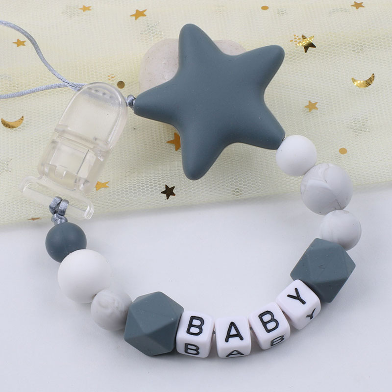 Customized Silicone Pacifier Clips Chain For Infant Big Star Feeding Chew Toy Pacifier Chain Holder Baby Shower Gift