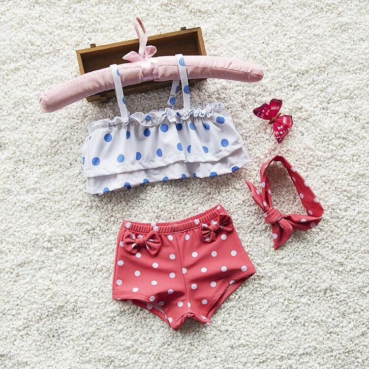 GI FOREVER/костюм из 2 предметов для девочек от 2 до 10 лет с повязкой на голову, одежда для купания, 2019 г. Детский милый купальник в горошек, детский