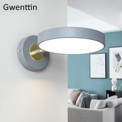 Nowoczesne okrągłe lampy ścienne Led Nordic Wall kinkiet światło oprawy salon sypialnia lustro łazienkowe światła Home Decor oprawa